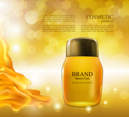 Cosmetic ads poster.Moisturizing nourishing cream for skin protection based on natural ingredients isolated on glowing background.Mockup 3D Realistic vector illustration with honey on the yellow-golden background Illustration