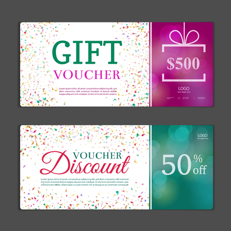 financial reward: Gift voucher template. Can be use for shopping cards, discount coupon, banner, discount card , web design and other. Vector illustration.