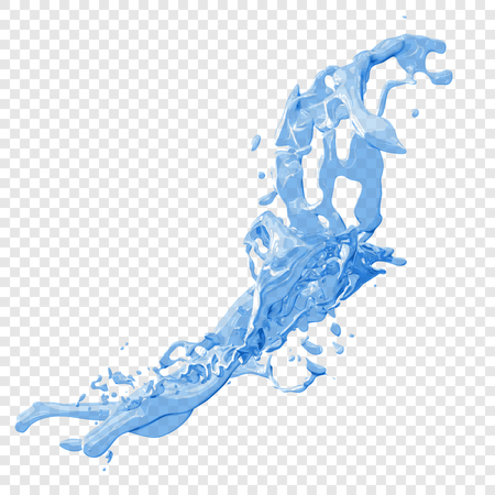 drops of water: Transparent water splashes and drops in blue colors, isolated vector illustration