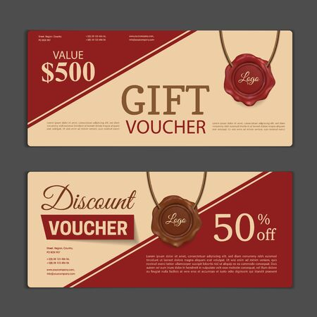 Gift voucher template. Can be use for shopping cards, discount coupon, banner, discount card , web design and other. Vector illustration. Abstract design