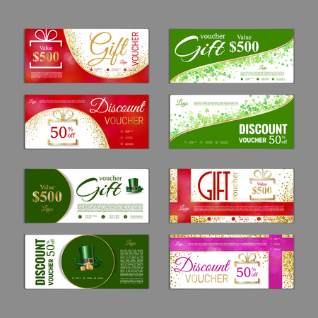 Gift voucher template pack. Can be use for shopping cards, discount coupon, banner, discount card , web design and other. Vector illustration. Abstract design