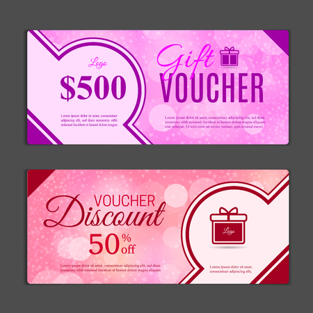 Gift voucher template. Can be use for shopping cards, discount coupon, banner, discount card , web design and other. Vector illustration.