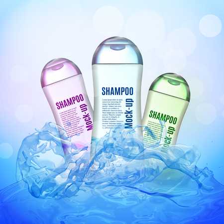 Realistic Shampoo bottle on the water
