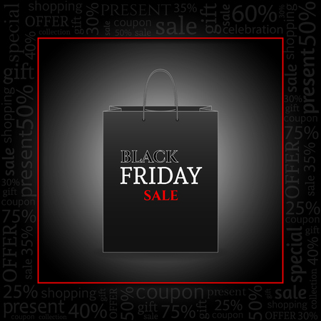 Black Friday Advertising Poster with shopping bag on black Background with text . Vector illustration.