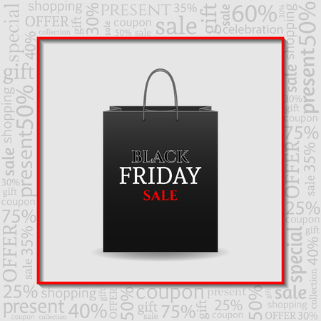 Black Friday Advertising Poster with shopping bag on white Background with text. Ilustrace