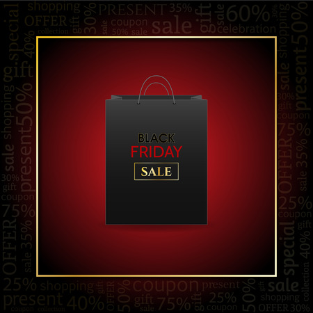 Black Friday Advertising Poster with shopping bag on red background with text. Ilustrace