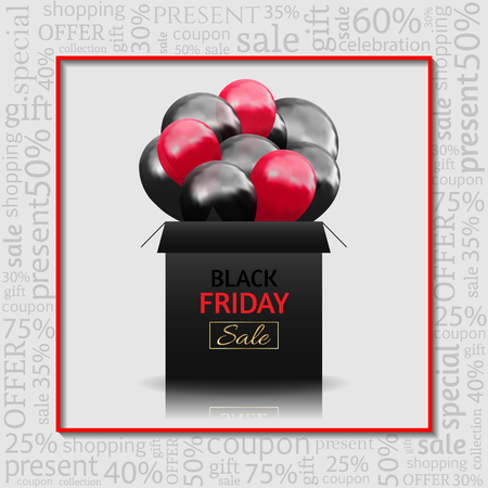 Black Friday Advertising Poster with gift box and Balloons on white Background with text . Vector illustration.