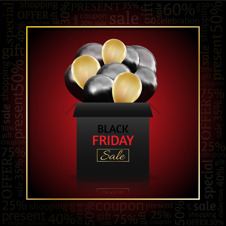 Black Friday Advertising Poster with gift box and Balloons on red Background with text . Vector illustration.