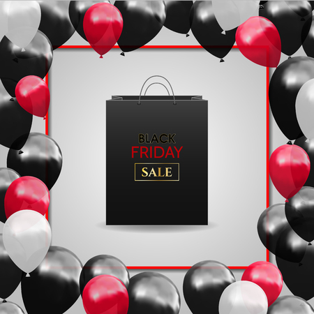 Black Friday Advertising Poster with Balloon Ilustrace