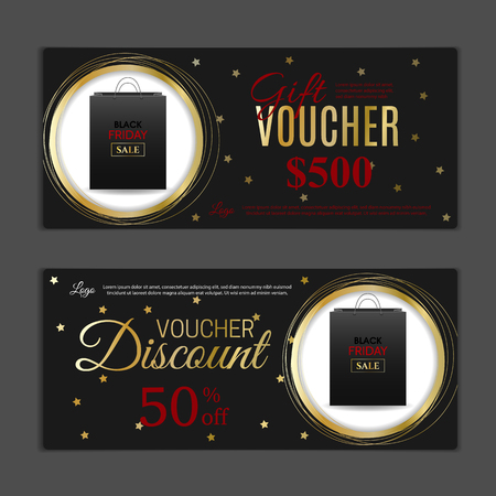 Black Friday Gift voucher template. Can be use for shopping cards, discount coupon, banner, discount card , web design and other. Vector illustration. Abstract design