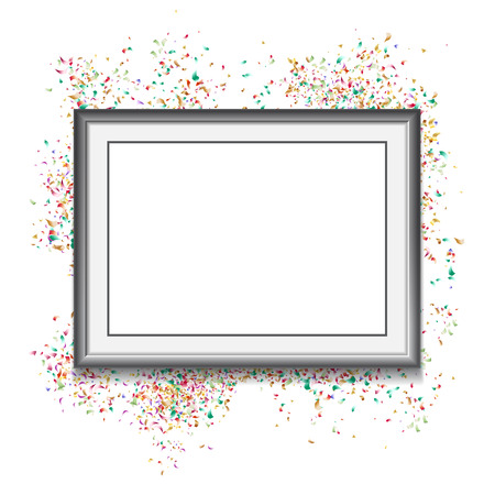 Frame on white background with colorfull confetti. Vector illust