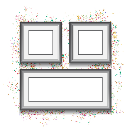 Frames on white background with colorfull confetti. Vector illus