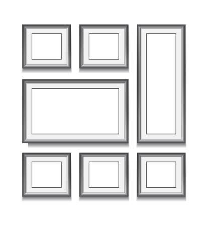 Set of black frame on white background. Vector illustration. Template for your design