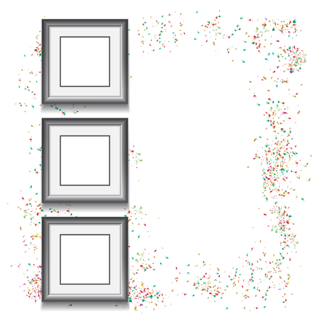 Frames on white background with colorfull confetti and empty space for your text. Vector illustration. Template for your design