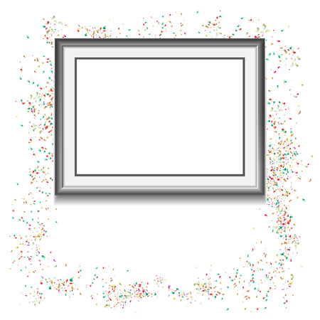 Frame on white background with colorfull confetti and empty space for your text. Vector illustration. Template for your design Ilustrace