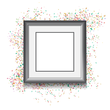 Frame on white background with colorfull confetti. Vector illustration. Template for your design Ilustrace