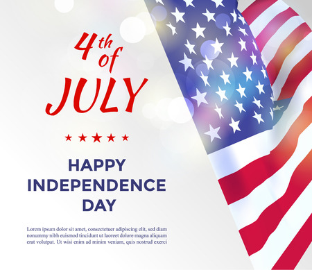 Independence day of USA 4 july . Vector illustration with USA flag and text