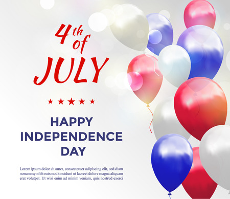 Independence day of USA 4 july . Vector illustration with balloons and text