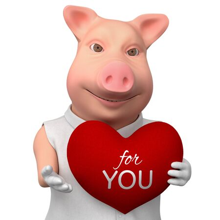 Stylized smiling pig with heart as gift. 3d cartoon cute character  isolated on white background.  Romantic illustration for your design Reklamní fotografie