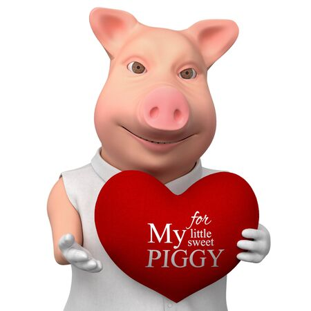 Stylized smiling pig with heart as gift. 3d cartoon cute character  isolated on white background.  Romantic illustration for your design..