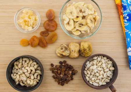 goober: Dried fruits and the nuts on the table Stock Photo