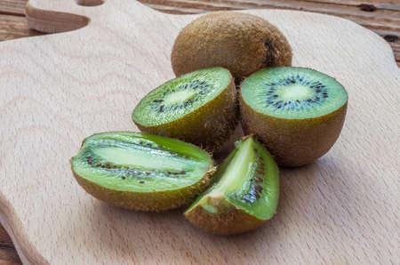 mellow: The ripe kiwifruits on the cutting board