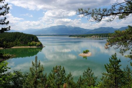 A view of the beautiful lake reservoir Koprinka, which is near Kazanlak in Bulgaria Stock Photo