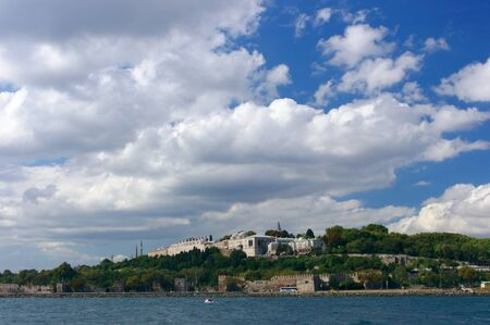 A view of Topkapi palace in Istanbul from the Bhosporus straits. Stock Photo