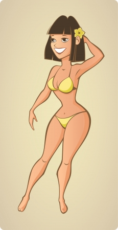 Beautiful summer beach woman Illustration