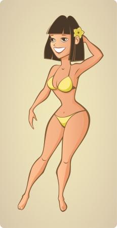 Mulher da praia bonita do ver