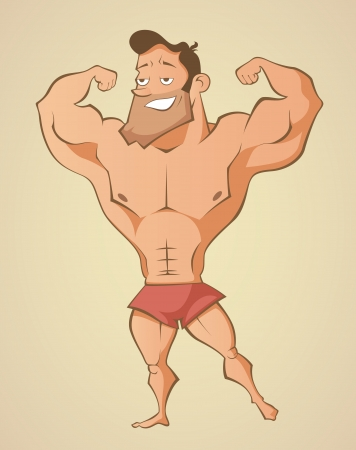 Muscular summer beach man Illustration