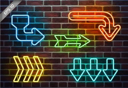Neon arrows on brick wall
