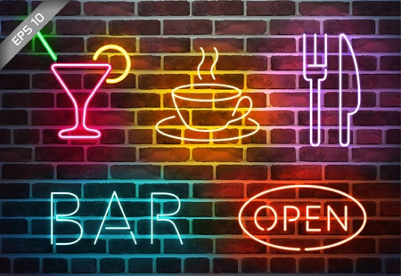 old bar: Neon signs on brick wall