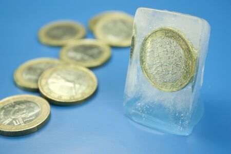 euro coin frozen Stock Photo