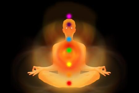 chakras: hombre de energ�a representa los siete chakras Foto de archivo