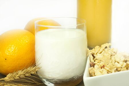 milk oranges orange juice and cereals