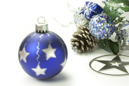 composition with Christmas decorations on white background