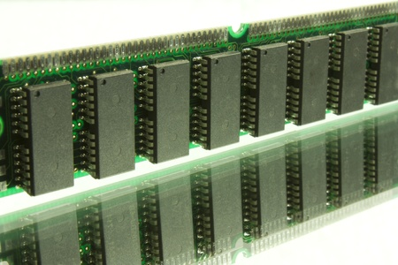 computer microchips and electronic components Stock Photo