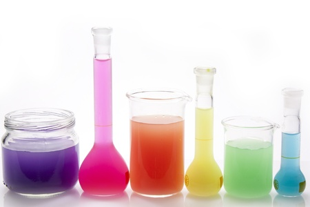 glass bottles with primary and secondary colors