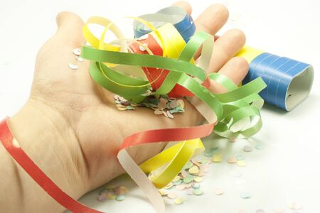 colored streamers and colorful confetti Stock Photo - 17311299