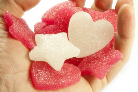 sugar candies in the shape of heart and star photo