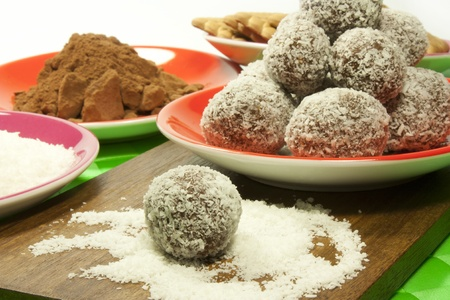sweet chocolate balls covered in coconut flakes  Stock Photo
