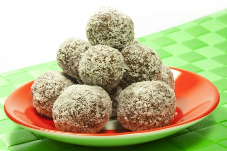 sweet chocolate balls covered in coconut flakes