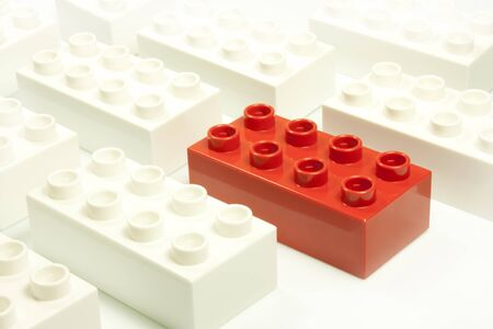 toy bricks of different colors joined together Stock Photo