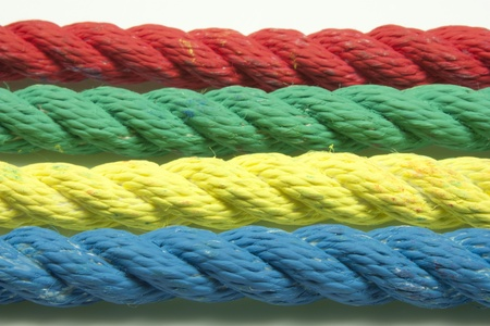 intertwining of four strings of different colors Stock Photo - 18619551