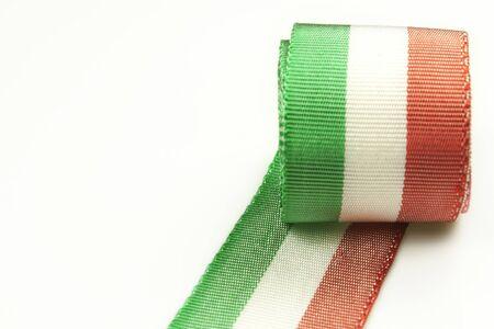 Italian tricolor ribbon of national flag