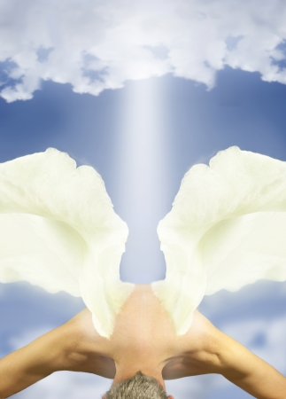 angel wings in sky with clouds photo