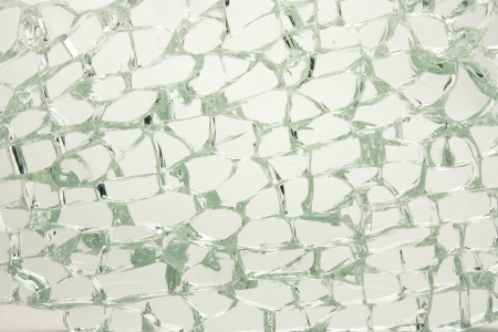 tempered: tempered laminated glass broken into many fragments