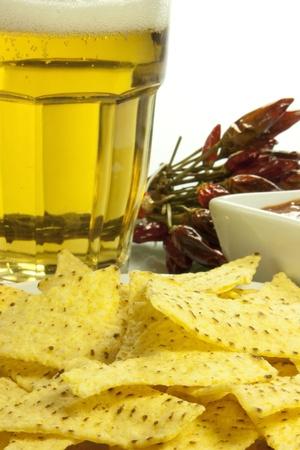 nachos corn and spicy chilli sauce