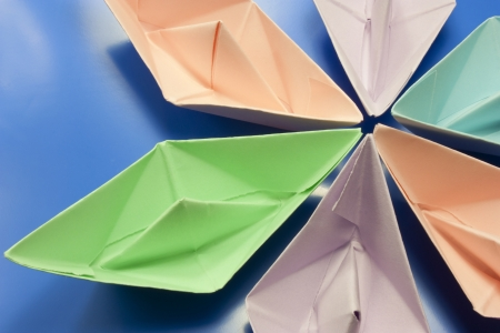 paper boats go in colors photo